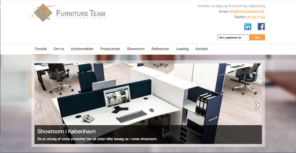 Furniture Team website by Marc Southwell