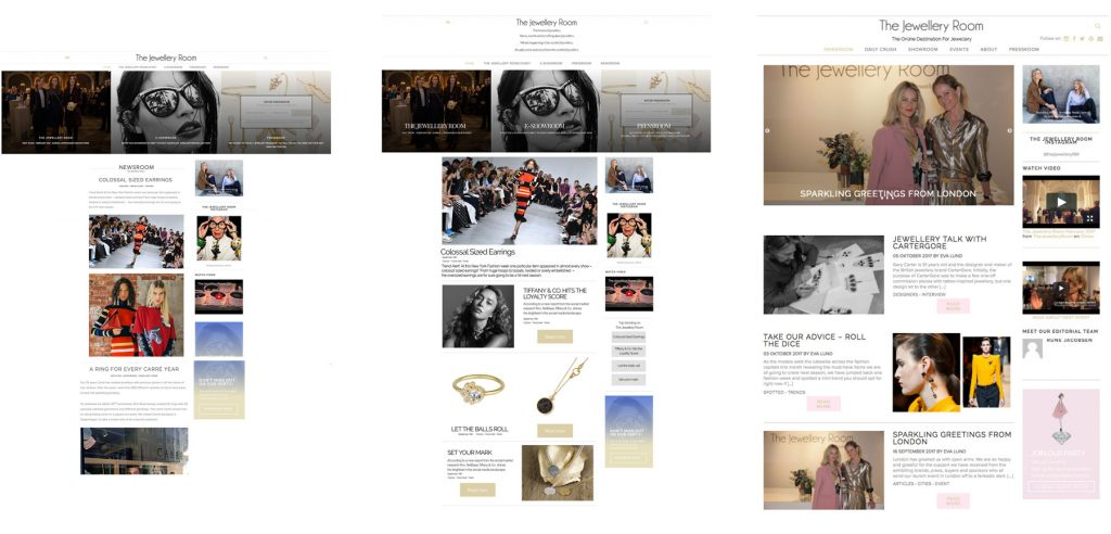 Process of The Jewellery Room website.